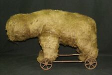 """Antique Large 20"""" Long Possibly Steiff Mohair Teddy Bear On Wheels Pull or Sit"""