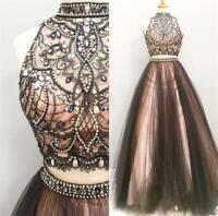 Two Piece Gorgeous Crystal Bead Prom Dress Long Evening Pageant Party Gowns