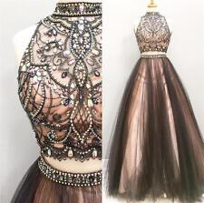 Two Piece Gorgeous Crystal Bead Prom Dress Long Evening Pageant Party Ball Gowns