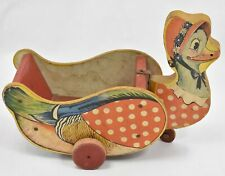 """Granny Mother Goose 11"""" Pull Toy Wagon Antique Gong Bell Manufacturing Company"""