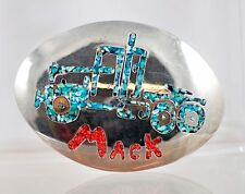 VTG Polished Metal Turquoise & Coral Chip Inlay Mack Truck Belt Buckle Unsigned