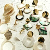 Fashion Women Bohemian Acrylic Metal Geometric Statement Drop Earrings Jewelry