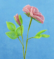 Vintage French Glass Beaded Pink Rose & Bud Flower