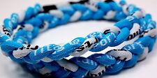 "Lot of 12 20"" 3 Rope Titanium Sport Necklaces Light Blue White Baseball Tornado"
