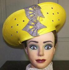 Ladies Straw Hat Yellow Church Derby Silver Rhinestones Bellini New York Vintage