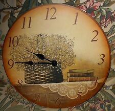 """ROUND WOOD WALL CLOCK 14"""" IN DIAMETER BASKET OF FLOWERS & BOOKS ON TABLE"""