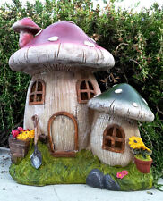 "Solar Home Outdoor Decor 9"" Mushroom Houses Statue LED Path Lawn Yard Light"