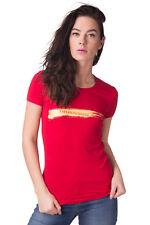 EMPORIO ARMANI T-Shirt Top Size 42 / M Glued Logo Front Short Sleeve Crew Neck