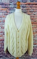 "True Vintage cable aran hand knit cardigan cream bust 44"" 16 chunky wool blend"