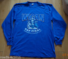 WIGAN V MANCHESTER UTD CUP FINAL FOOTBALL L/S BLUE T SHIRT 2006  X LARGE NEW