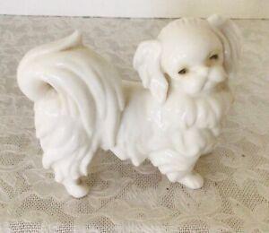 Vintage Lenwile Ardalt White Porcelain Pekingese Fig Figurine Original