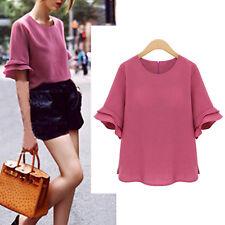 Women Ladies Casual Top Blouse Dress Short Sleeve AU Size 14 16 18 20 22 #24011
