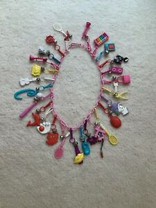 OVER 25 VINTAGE 1980s BELL CLIP PLASTIC CHARM NECKLACE FOR 80'S CHARMS