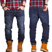 RELLO & REESE Herren Jeans Hose Regular Straight Fit Hose Dunkelblau/Blau NEU