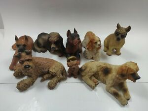 Lot of 8 Dog Figures Collectibles Resin Good Condition Varying Sizes