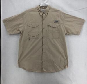 Columbia PFG Mens Fishing Shirt Beige Short Sleeve Mesh Vented Pockets Tall XLT