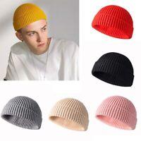Beanie Men Warm Skull Ski Slouchy Knit Hat Plain Hats Cap Cuff Women Winter