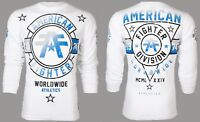 AMERICAN FIGHTER Mens LONG SLEEVE T-Shirt SILVER LAKE Athletic WHITE Gym $54