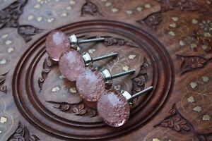 Glass Door Knob Pink Drawer/Wardrobe/Cabinet Handle Ball Knob Vintage Decor Art