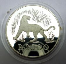 Indonesia 2000 Rupiah 1974 Silver coin proof Wildlife Javan Tiger (T94,4)
