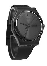 Swatch SUOB702 Black Rebel Black Dial Silicone Strap Men Watch NEW