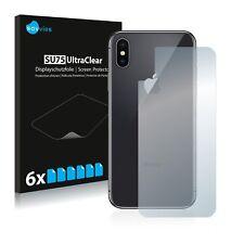 6x Displayschutzfolie Apple iPhone X (Rückseite) Schutzfolie Klar Folie