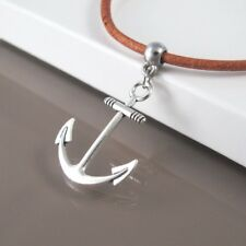 Silver Alloy Sailor Boat Anchor Pendant 3mm Brown Leather Surfer Necklace NEW