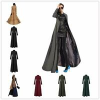 Retro Womens Vogue Wool Blend Long Full Length Trench Coat Jacket Overcoat Parka