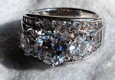 Diamonique Simulated Diamond Round 3-Stone Ring, Platinum Clad Size 6.5