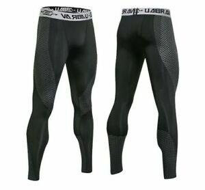 Leggins Kompressions Hose Laufhose Herren Tights Fitness lang schwarz M L XL XXL