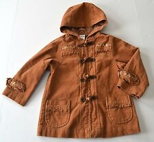 Girls GYMBOREE Sz 3y Brown Corduroy Hooded Toggle Coat Flowers Autumn Highlands