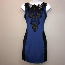 Blue W/ Black Lace Dress Size Large
