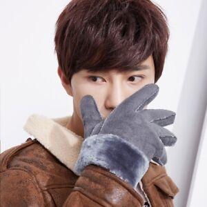 Mens Faux Leather Winter Gloves Warm Plush Velvet Outdoor Sport Wear Windproof