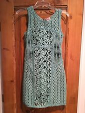 Women's Yoana Baraschi teal 100% cotton lace overlay sleeveless dress w/liner 4