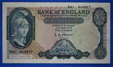 """1957 Bank of England, BOE Five pounds, O'Brien, Prefix """"B61"""" £5 note *[18316]"""