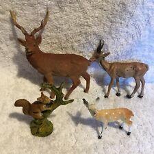 4 Old Animal Stag, Goat, Squirrel And Deer Figures