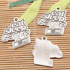 23pcs tibetan silver color words eat sleep Game  charms H3376