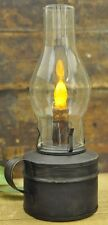 Reproduction Oil Barn Lantern With Timer Candle in Rustic Brown Finish