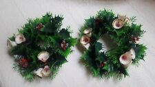 2 Vintage Christmas Green Plastic Holly Berries Leaves Candle Holders pre-owned