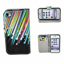 Stars Printed Leather Stand Wallet Pocket Cover Case For Apple Iphone 4 4G 4S