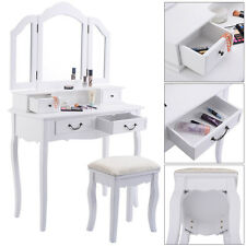 New listing 		Tri Folding Mirror White Wood Vanity Set Makeup Table Dresser 4 Drawers + Stool