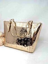 Michael Kors Logo Metallic Ciara LG Top Zip Tote Bag Pale Gold 35h9gc6t3z