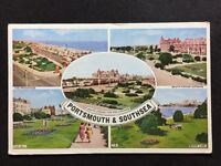 Vintage Postcard - Hampshire #10 - RP Portsmouth & Southsea Multi view - 1956