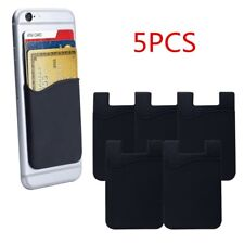 5x Silicone Credit Card Holder Cell Phone Wallet Pocket Sticker Adhesive BK
