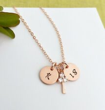 Rose Gold Personalised Initial Special Birthday Necklace Cubic Zirconia Key Char