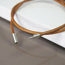"""18"""" 45cm Brown Leather Cord Surfer Necklace NON Allergy Silver Pewter Connector"""