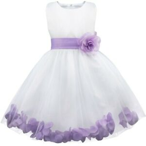 Flower Girls Petals Tulle Formal Wedding Pageant Dress Bridesmaid Princess Gown