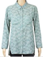 New Womens Shirt Blouse Collared Peacock Print Ex White Stuff  Size 8 10 12 14