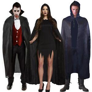 Black Halloween Capes Hooded Cape Vampire Dracula Witch Fancy Dress Velvet Cloak