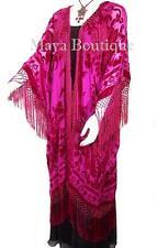 Magenta Pink Silk Burnout Velvet Fringe Jacket Kimono Duster Maya Matazaro Plus